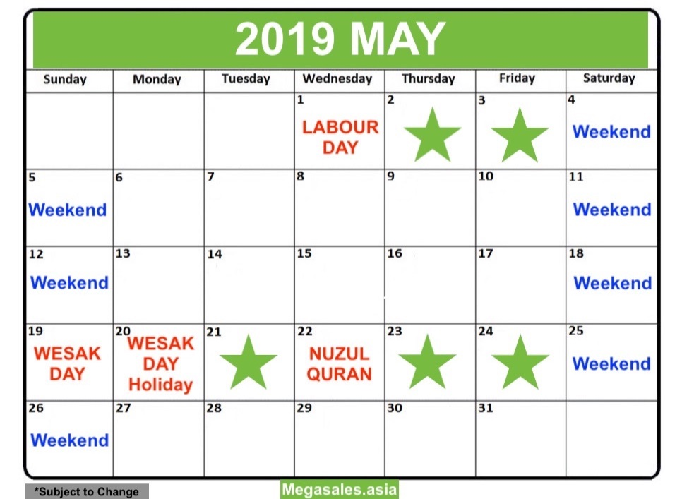 List of Public Holidays and Long Weekends in MAY 2019 Malaysia