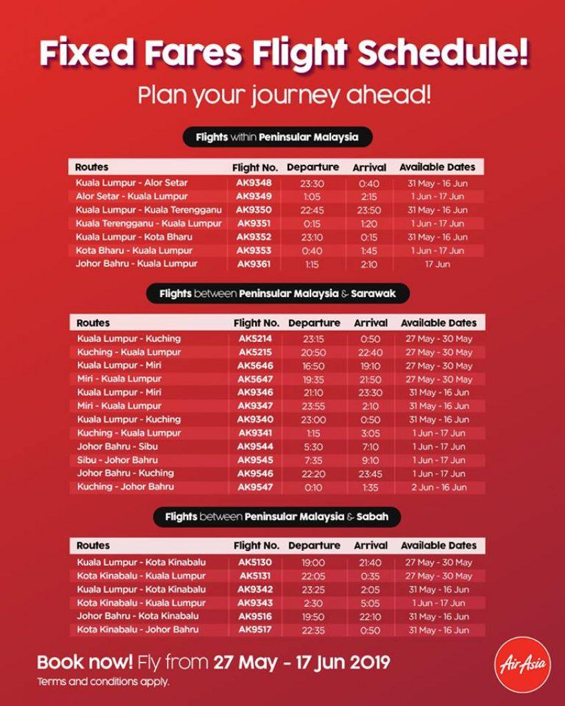 AirAsia Fixed Fares Flight Schedule Raya
