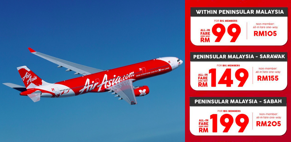 AirAsia Releases Fixed Fares Raya Promotion from RM99