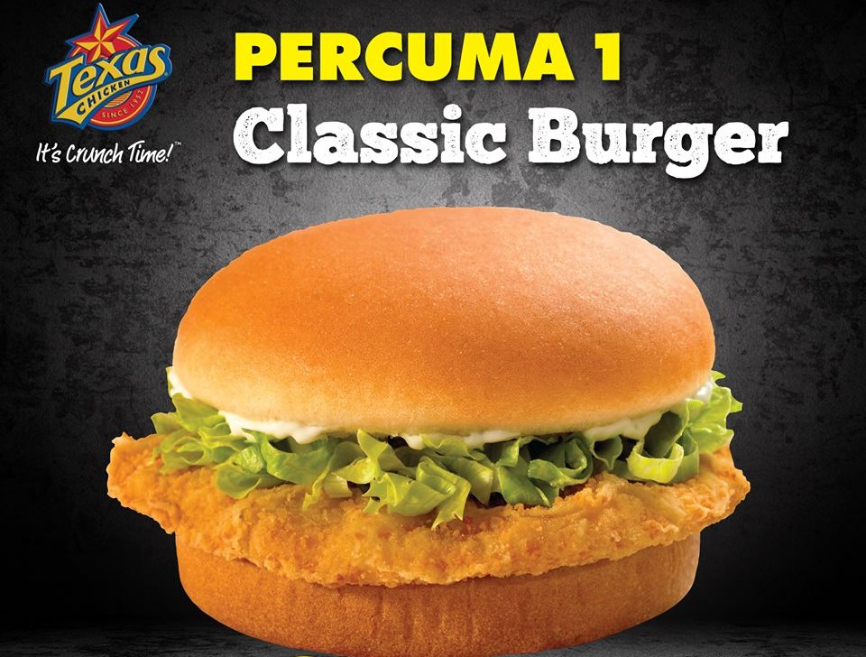 Texas Chicken Malaysia - FREE 1 Classic Burger