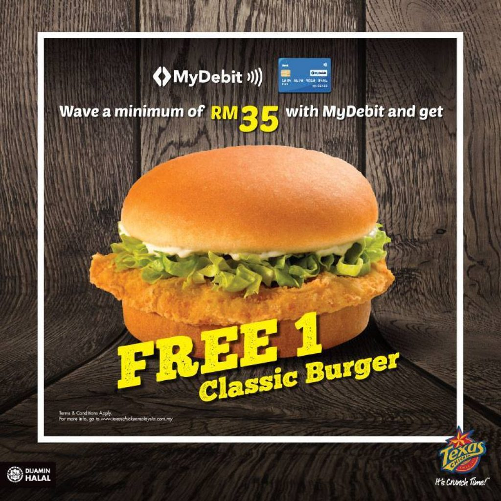 Texas Chicken Malaysia Free Burger MyDebit Contactless