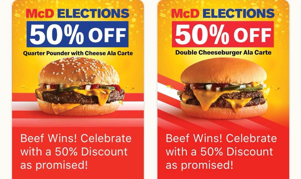 50% OFF Double Cheeseburger and Quarter Pounder