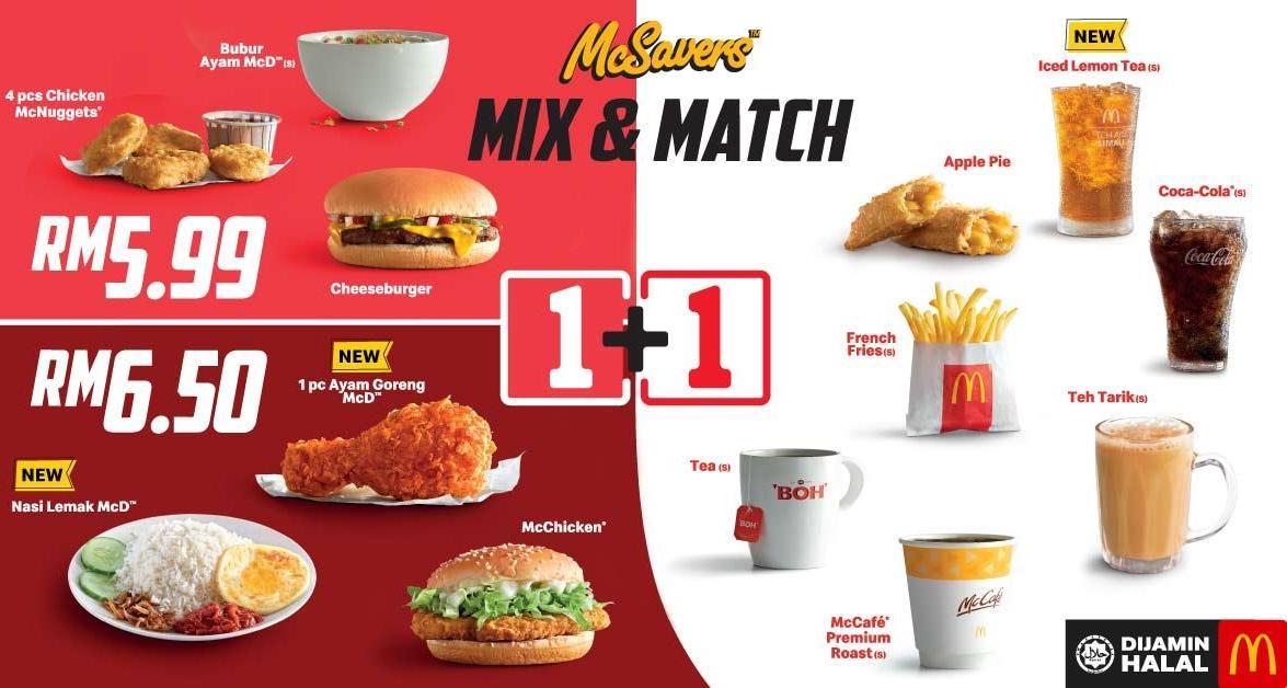 Mix & Match new choices Nasi Lemak, Ayam Goreng McD and Iced Lemon Tea for just RM6.50
